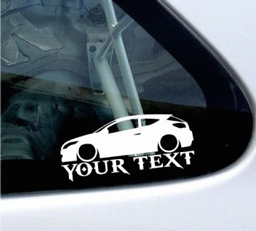 2x Custom YOUR TEXT Lowered car stickers - Renault Megane RS sport mk3